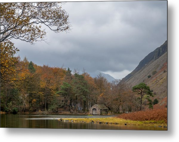 Moody Clouds Over A Boathouse On Wast Water In The Lake District Metal Print