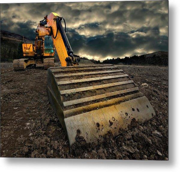 Moody Excavator Metal Print