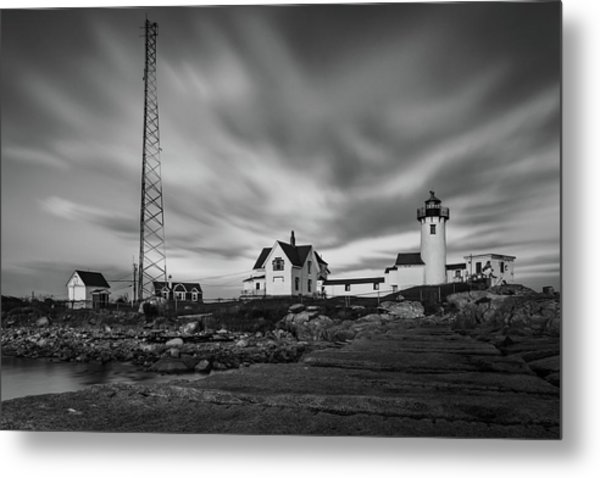 Moody Sky At Eastern Point Lighthouse Metal Print