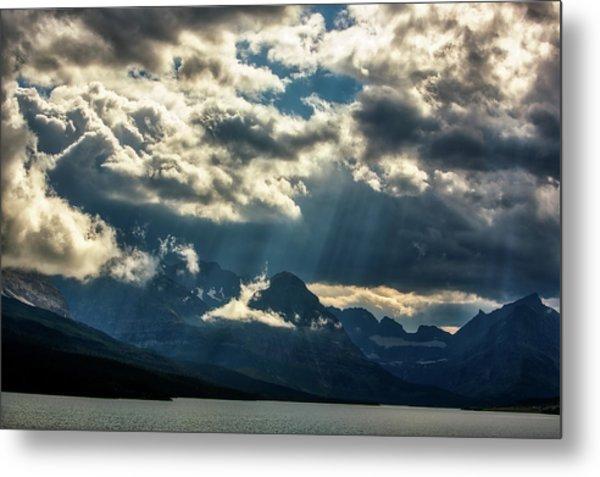 Moody Sunrays Over Glacier National Park Metal Print