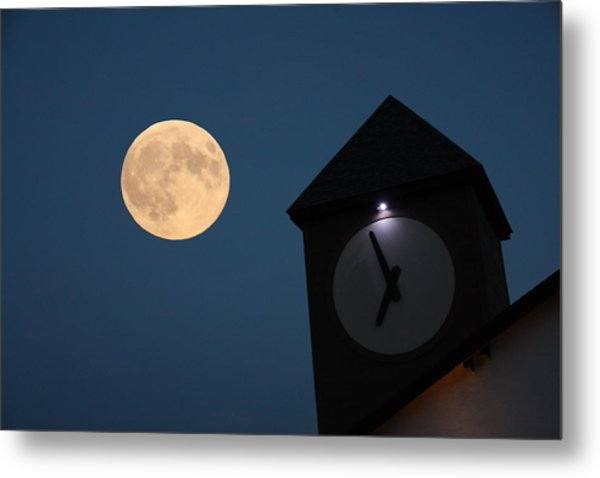 Moon And Clock Tower Metal Print