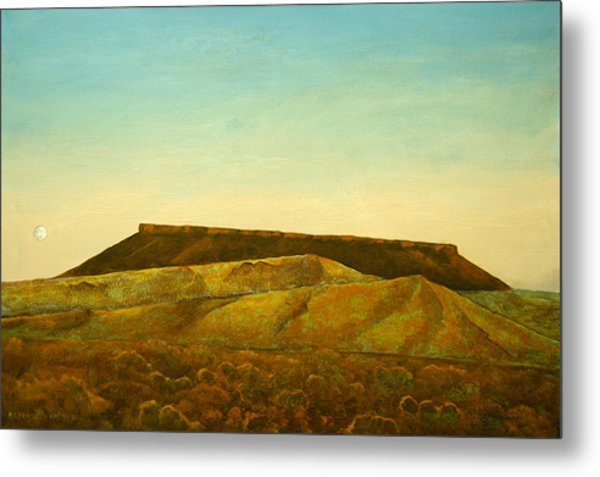 Moon And Mesa Metal Print