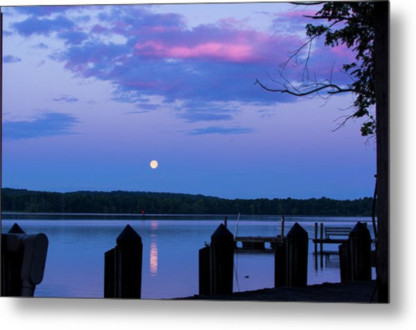 Moon And Pier Metal Print