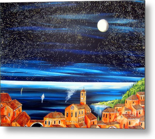 Moon And Stars Over The Village  Metal Print