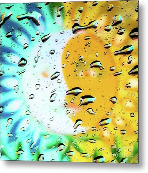 Moon And Sun Rainy Day Windowpane Metal Print