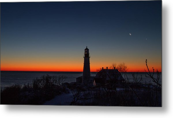 Moon And Venus - Headlight Sunrise Metal Print