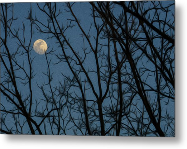Moon At Dusk Through Trees - Impressionism Metal Print