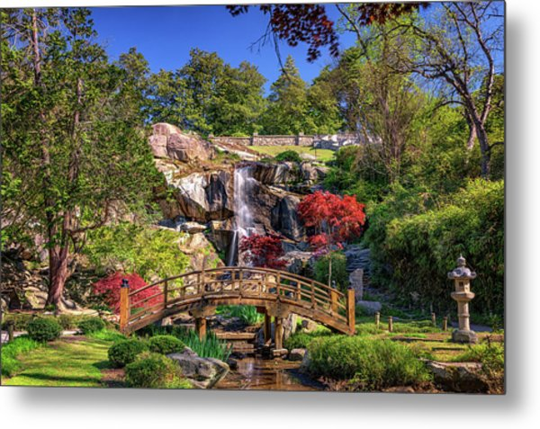 Moon Bridge And Maymont Falls Metal Print