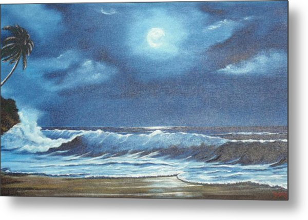 Moon Light Night In Paradise Metal Print