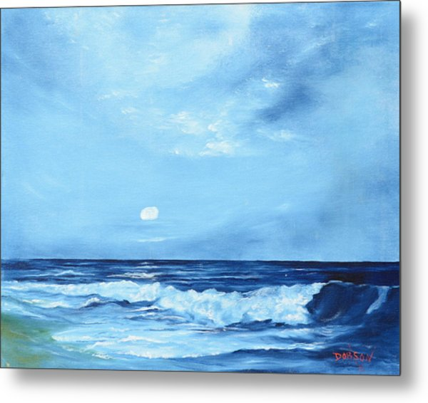 Moon Light Night Wave Metal Print