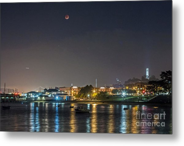 Metal Print featuring the photograph Moon Over Aquatic Park by Kate Brown