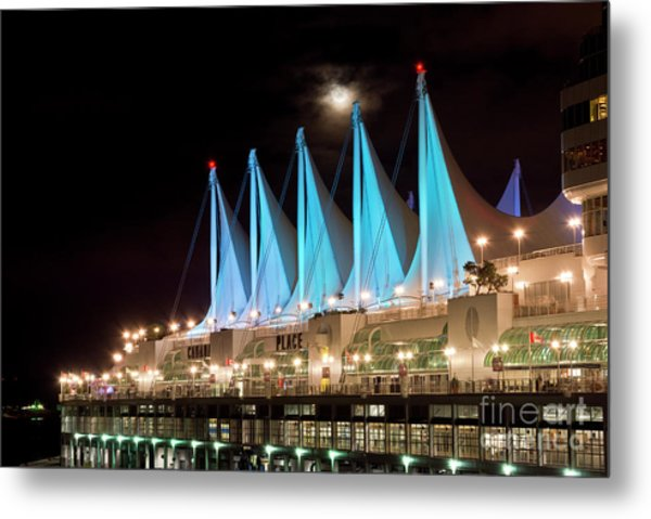 Moon Over Canada Place In Vancouver Metal Print