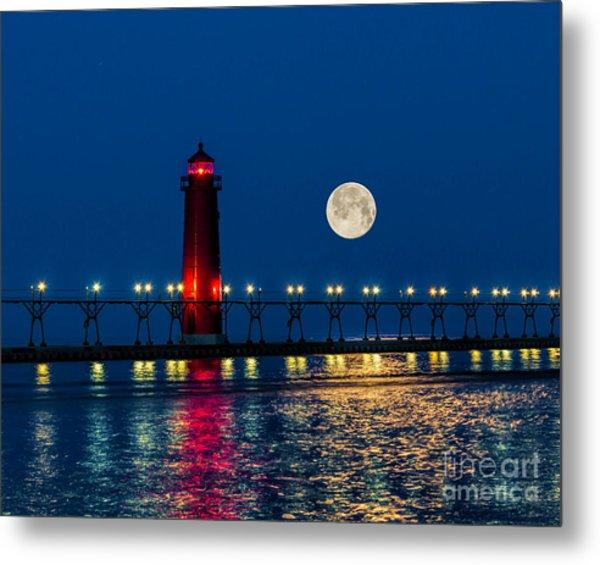 Moon Over Grand Haven Metal Print