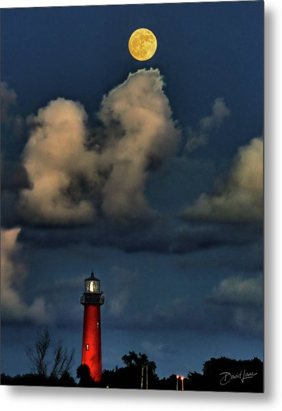 Moon Over Lighthouse Metal Print