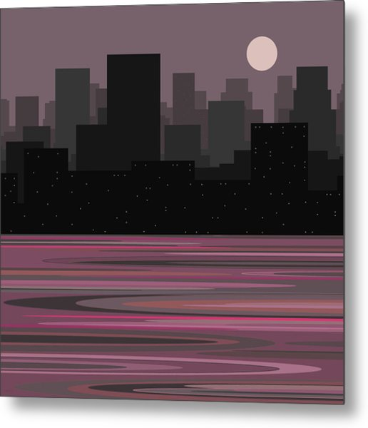 Moon Over Manhattan - A Different View Metal Print