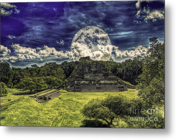 Moon Over Mayan Temple Two Metal Print