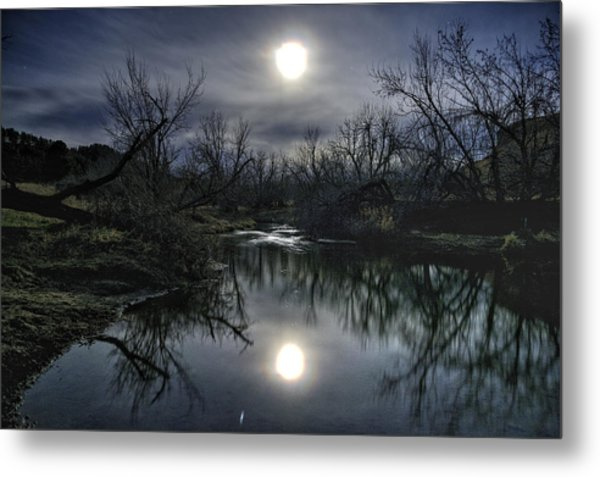 Moon Over Sand Creek Metal Print