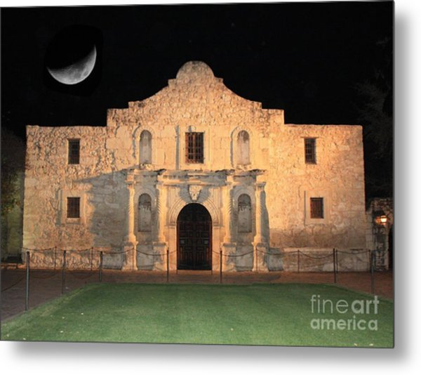 Moon Over The Alamo Metal Print
