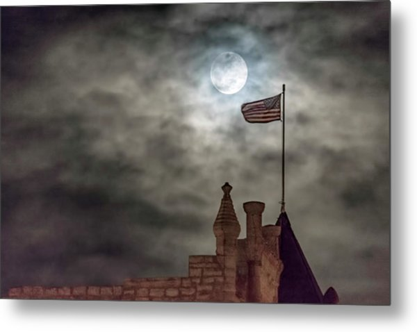 Moon Over The Bank Metal Print