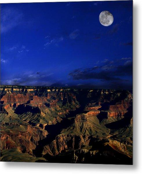 Moon Over The Canyon Metal Print