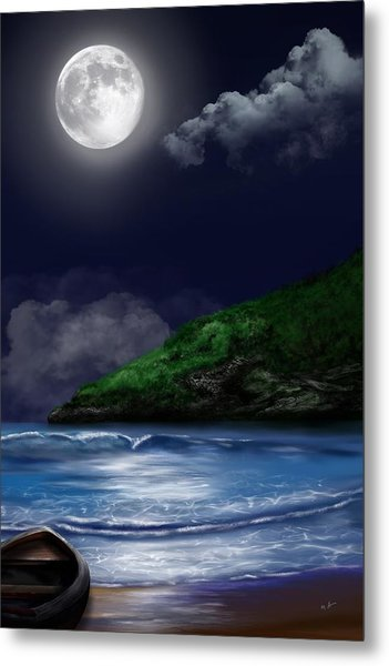 Moon Over The Cove Metal Print