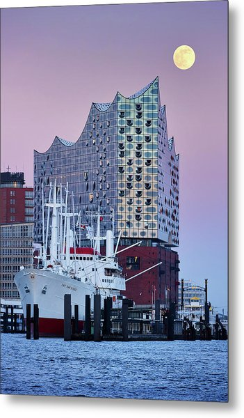 Metal Print featuring the photograph Moon Over The Elbe Philharmonic Hall by Marc Huebner