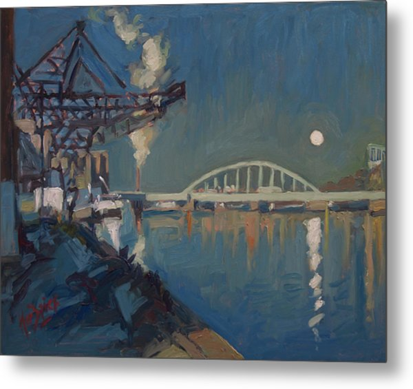 Moon Over The Railway Bridge Maastricht Metal Print