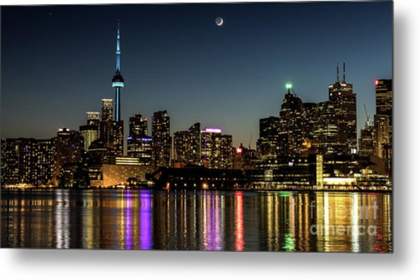 Moon Over Toronto Metal Print