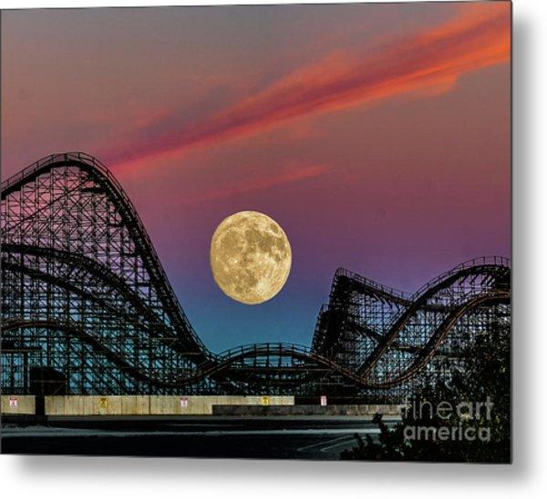 Moon Over Wildwood Nj Metal Print