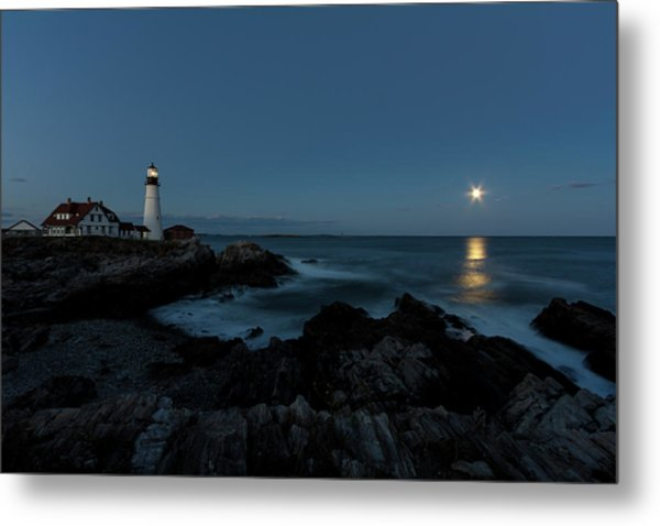 Moon Rise At Portland Headlight Metal Print