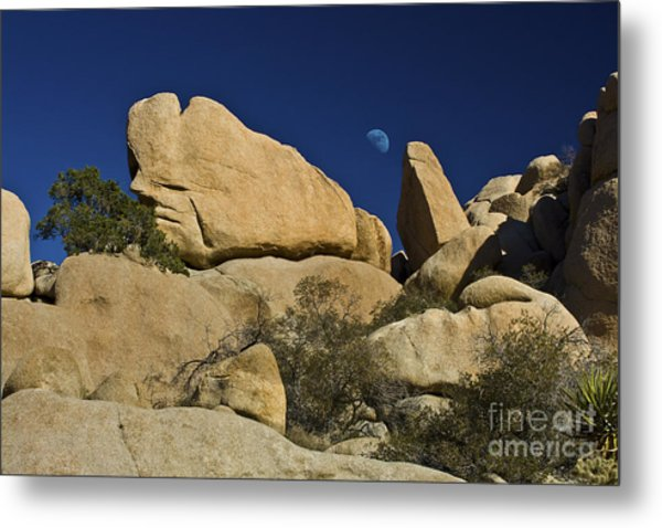 Moon Rising Over Indian Rock Metal Print