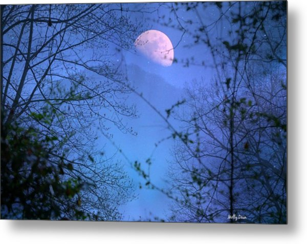 Moon Rising Over Mountain Metal Print by Molly Dean