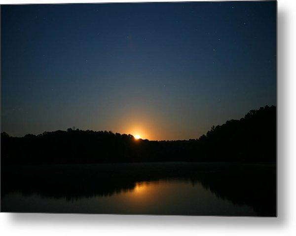 Moon Rising Over The Lake Metal Print by James Jones
