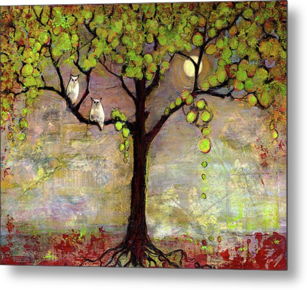 Moon River Tree Owls Art Metal Print
