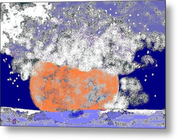 Moon Sinks Into Ocean Metal Print by Beebe  Barksdale-Bruner