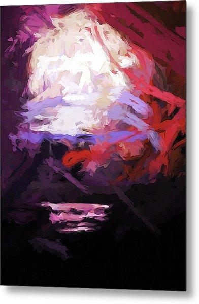 Moon Sky Pink Sea Metal Print
