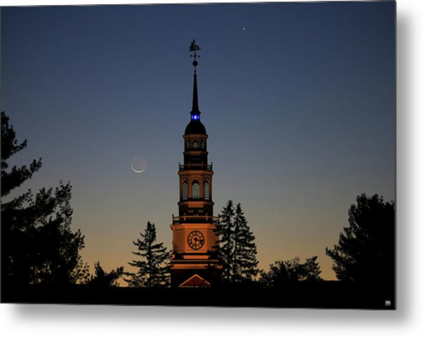 Moon, Venus, And Miller Tower Metal Print