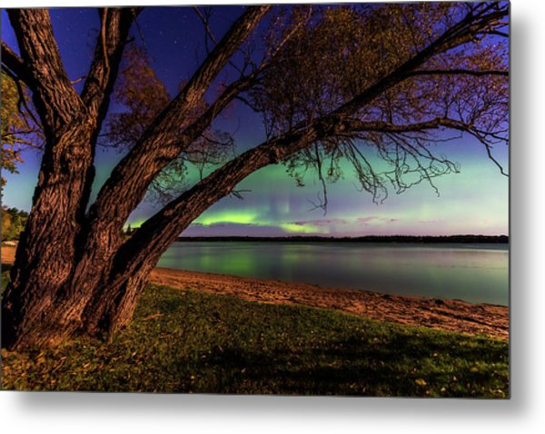 Moon Vs Aurora Metal Print