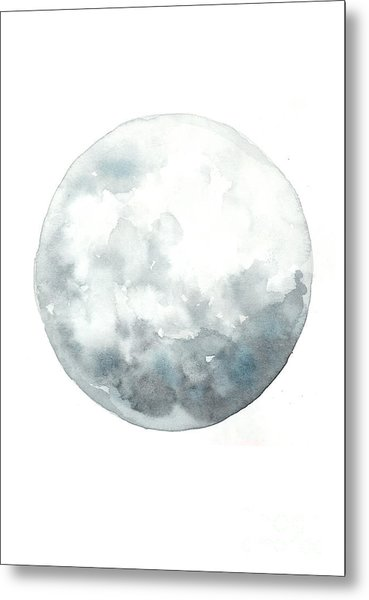 Moon Watercolor Art Print Painting Metal Print