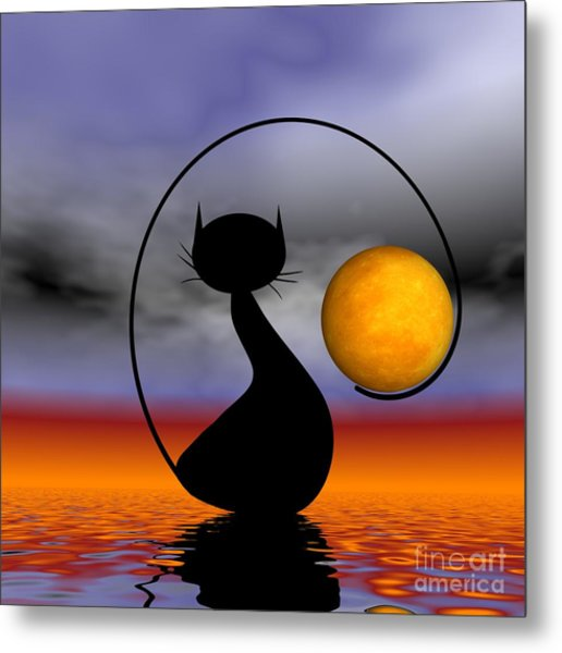 Mooncat's Waiting  Metal Print