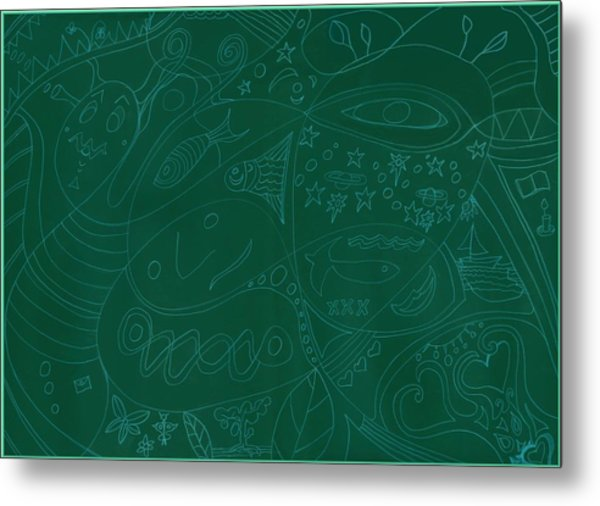 Moonfish Drawing Negative Green Chalk Metal Print