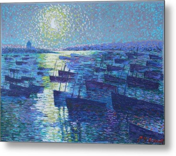 Moonlight And Fishing Boat Metal Print