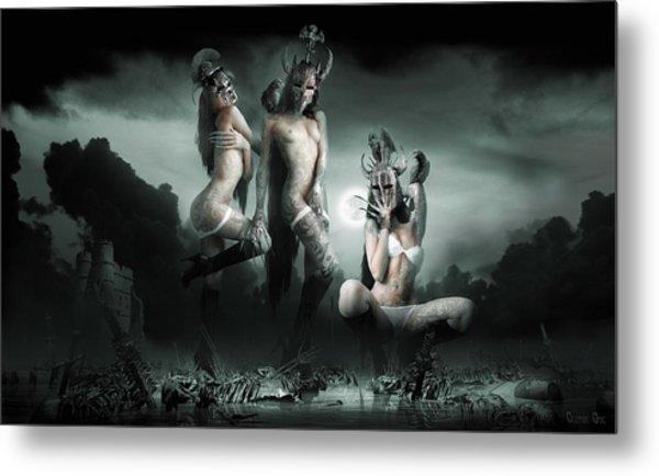 Moonlight Bathing Valkyries Metal Print