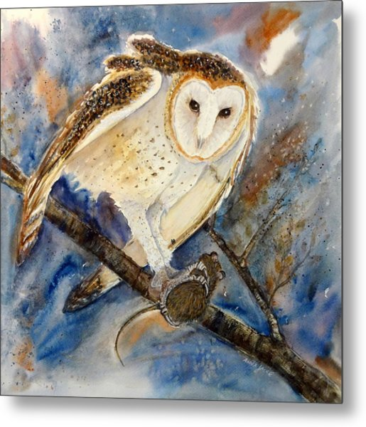 Moonlight Feast - Barn Owl Metal Print