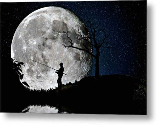 Moonlight Fishing Under The Supermoon At Night Metal Print
