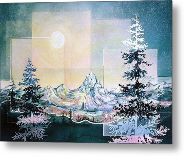 Moonlight Mountain Metal Print