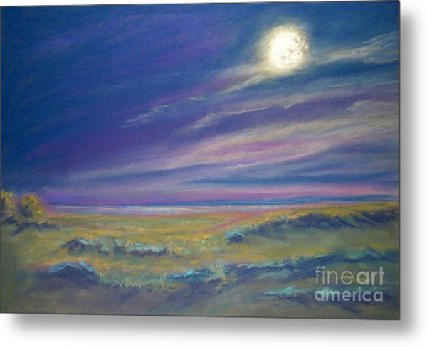Moonlight On The Dunes Metal Print by Addie Hocynec