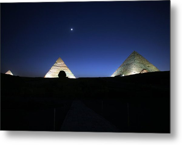 Moonlight Over 3 Pyramids Metal Print