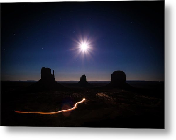 Moonlight Over Valley Metal Print