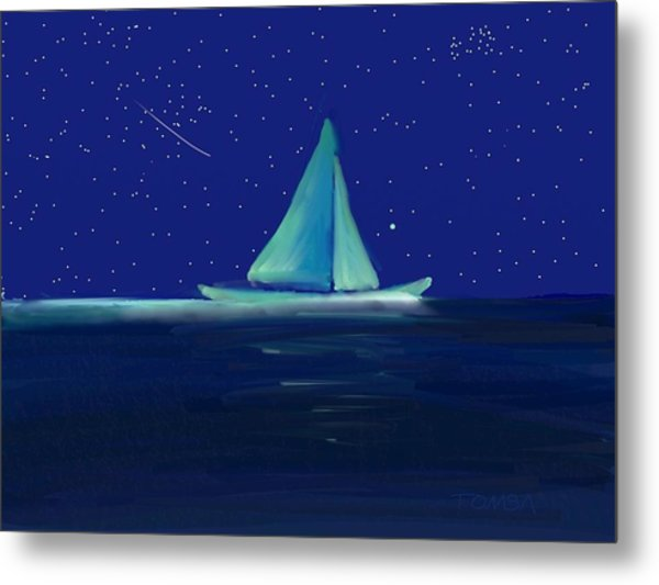 Moonlight Sail Metal Print